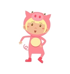 Child Wearing Costume of Piggy vector image vector image