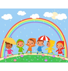 children walk on a beautiful rainy day vector image vector image