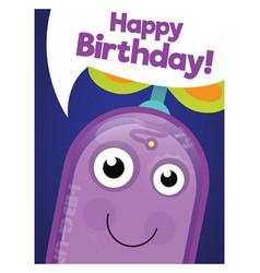 funny robot happy birthday card vector image