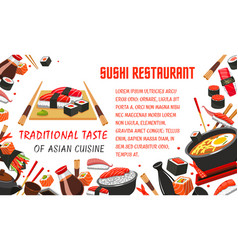 japanese sushi restaurant banner of asian food vector image