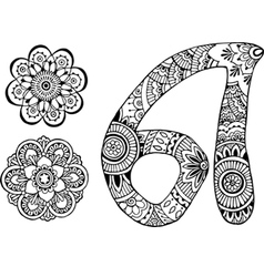 letter A decorated in the style of mehndi vector image vector image