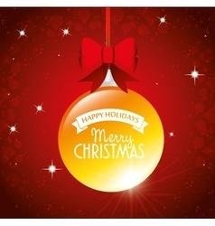 big ball merry christmas happy holidays ribbon bow vector image vector image