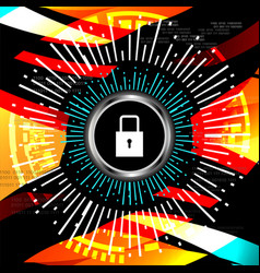 cyber security padlock icon vector image vector image