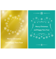 gold and green greeting cards for christmas vector image vector image