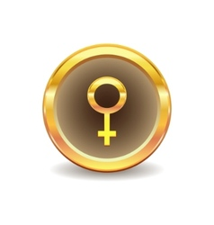 gold button with female sex symbol vector image