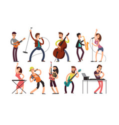 rock and pop musicians cartoon characters vector image vector image