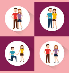 Set of of couples characters in different vector