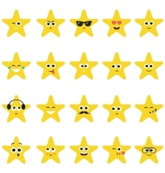 stars with smiley faces vector image vector image