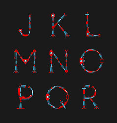 Technical robot font letters from j to r vector