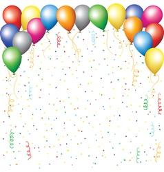 balloons confetti and serpantine vector image