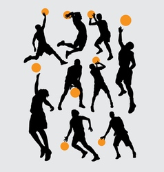 Basketball sport silhouettes vector image vector image