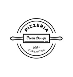 fresh dough pizza guarantee logo vector image vector image
