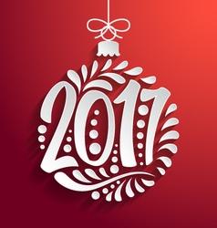 Holidays greeting card Christmas ball 2017 year vector image vector image