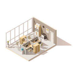 isometric low poly office room vector image