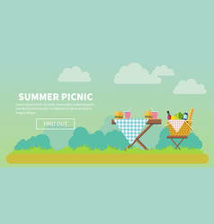outdoor picnic in park banner vector image vector image