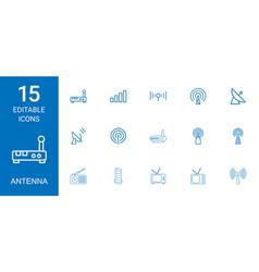 15 antenna icons vector