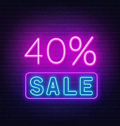 40 percent sale neon sign on brick wall background vector image