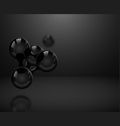 Abstract glossy black molecules or atoms on dark vector