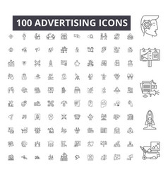 advertising editable line icons 100 set on vector image