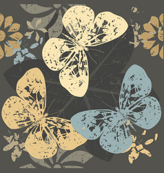 autumn pattern with butterfly silhouettes on vector image