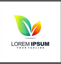 awesome leaf gradient logo design vector image