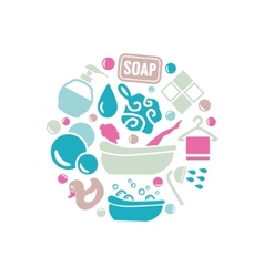 bath icons in circle vector image