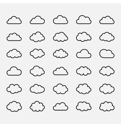 Big set black cloud shapes icons vector