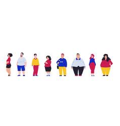 Body positive overweight men and women suffer vector