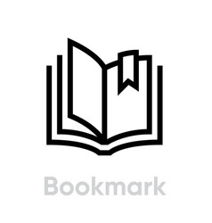 bookmark icon editable stroke vector image