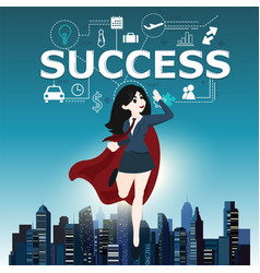 Businesswomen superhero flying fast for business vector