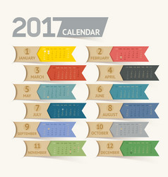 Calendar 2017 print template design ribbon paper vector