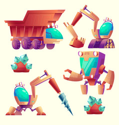 Cartoon mining machinery for other planets vector