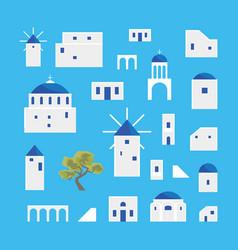 cartoon santorini island village icon set vector image