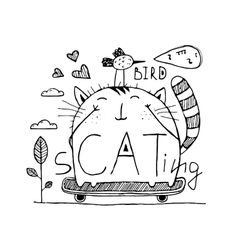 Cat and bird cute friends skateboarding outline vector