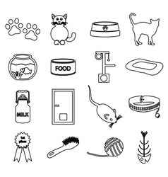 cats pets items simple black outline icons set vector image