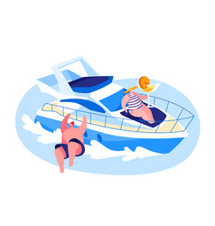 characters traveling on luxury yacht at sea on vector image