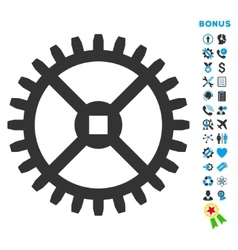 Clock Gear Flat Icon with Bonus vector
