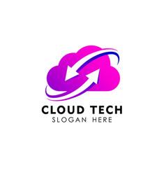 cloud sync logo design template cloud tech logo vector image