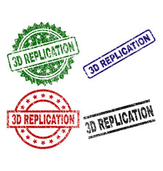 Damaged textured 3d replication stamp seals vector