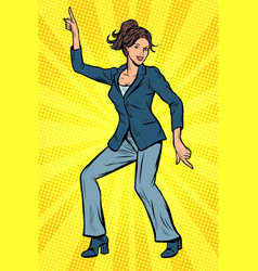 Dancing business woman disco dance club music vector