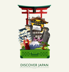 Discover japan banner with famous attractions vector