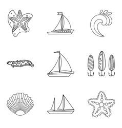 Divide icons set outline style vector