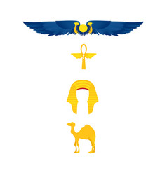 Egypt symbols - winged sun ankh nemes and camel vector