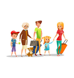 Family travel of kids parents vector