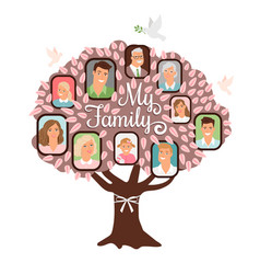family tree cartoon doodle icon vector image