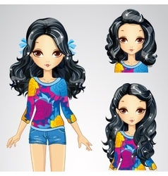 Fashion Brunette Girl And Collection Of Hairstyles vector image