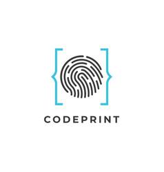 Finger print code logo vector