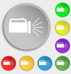 Flashlight icon sign symbols on eight flat buttons vector