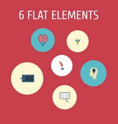 flat icons pencil science wings and other vector image