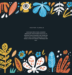 floral hand drawn poster template with text space vector image